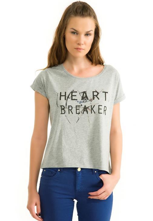 Baskılı Kısa Kollu Tişört 14KOX-REBREAK