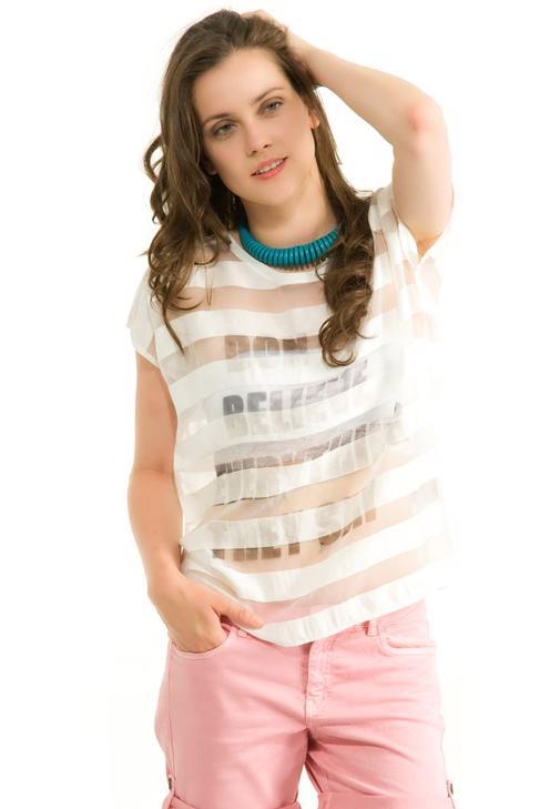 Yarı Transparan Baskılı Bluz 14KOX-SERBASTHEY