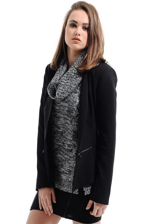 Fermuar Detaylı Siyah Ceket 15YHOT-JAFERKET