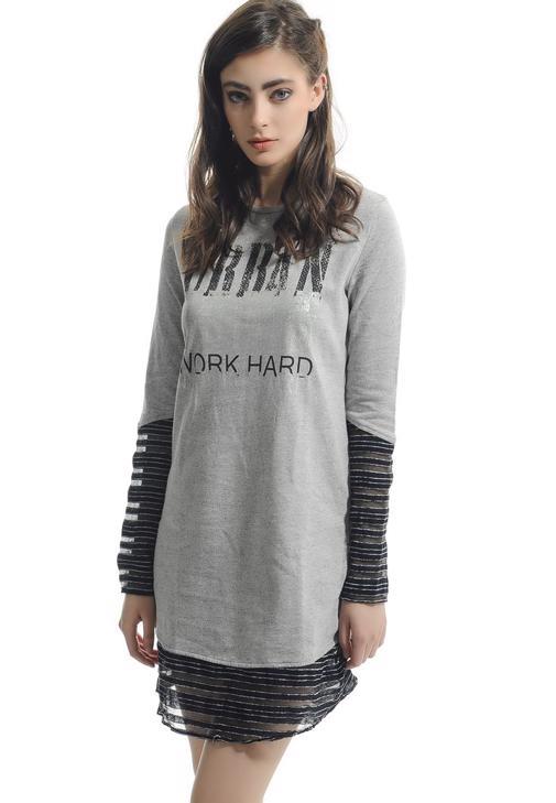 Transparan Detaylı Baskılı Tunik Elbise   14KOX-BOSMIXEL
