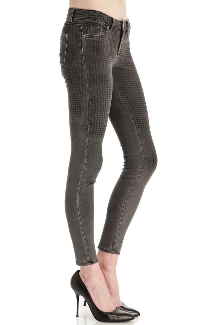 Desenli Skinny Denim Pantolon