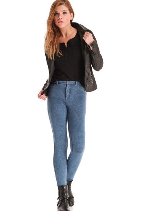 Denim Görünümlü Skinny Pantolon 14KOX-DENBERPANT