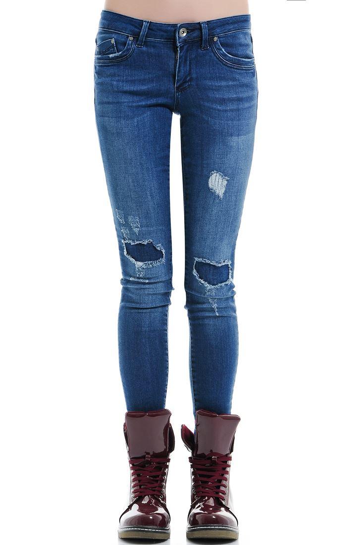 Yamalı Skinny Denim Pantolon