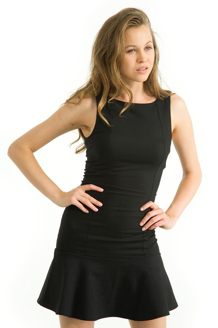 Etek Ucu Volanlı Mini Elbise