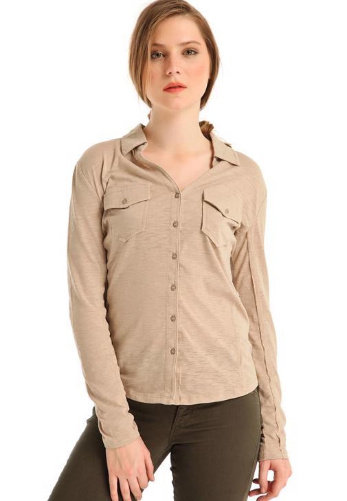 Uzun Kollu Penye Gömlek 14KOX-FLACEPGOM