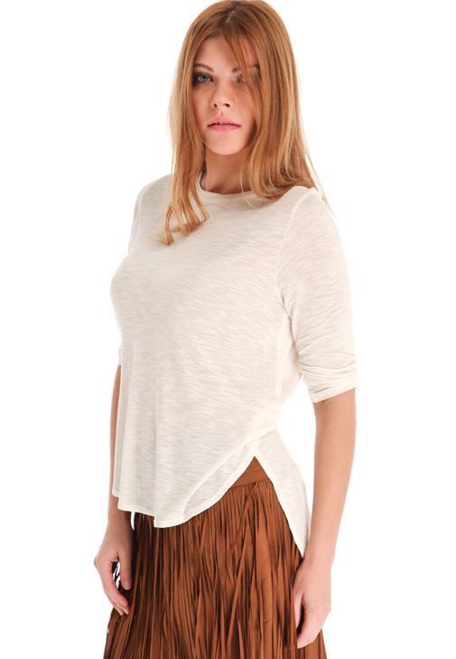 Geniş Yakalı Yırtmaçlı Tişört 14KOX-FLAVYAN
