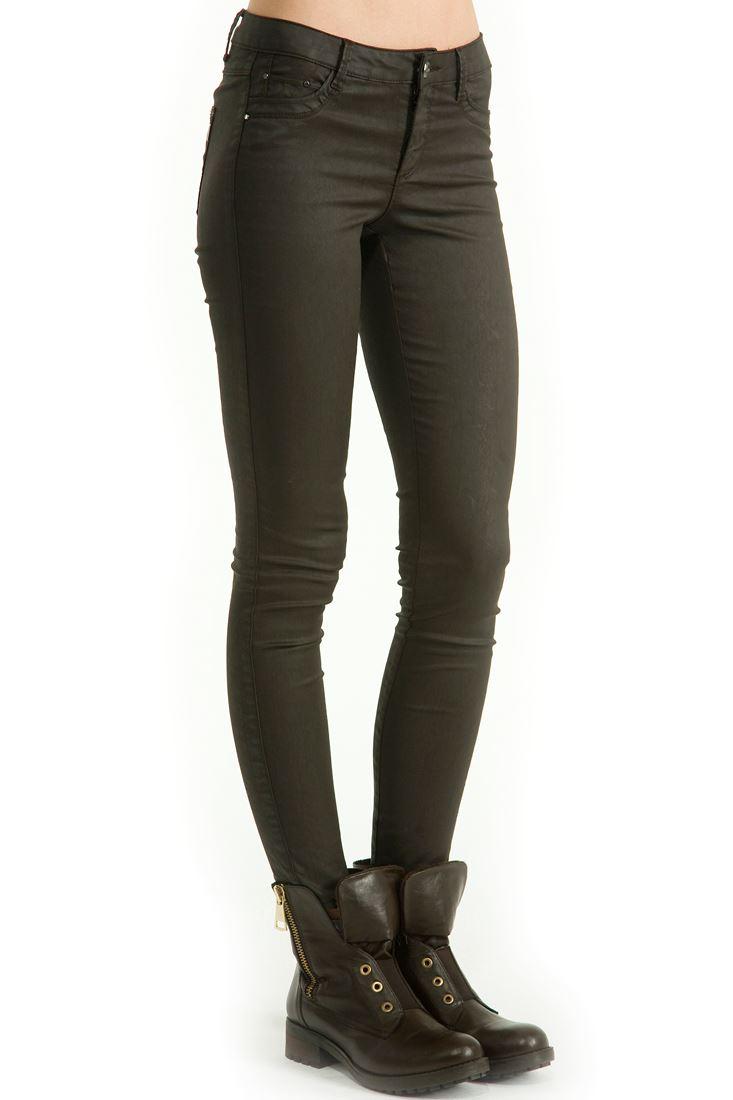 Deri Görünümlü Dar Kesim Pantolon