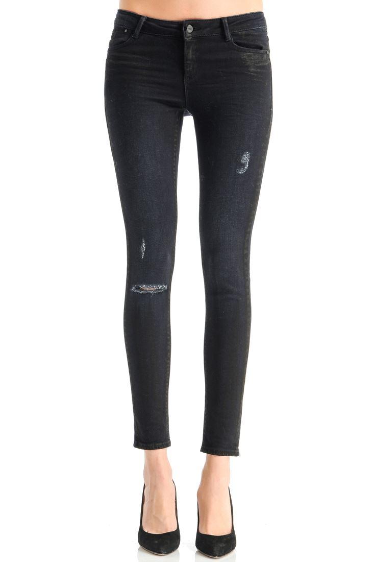 Diz Kısmı Yırtık Skinny Pantolon