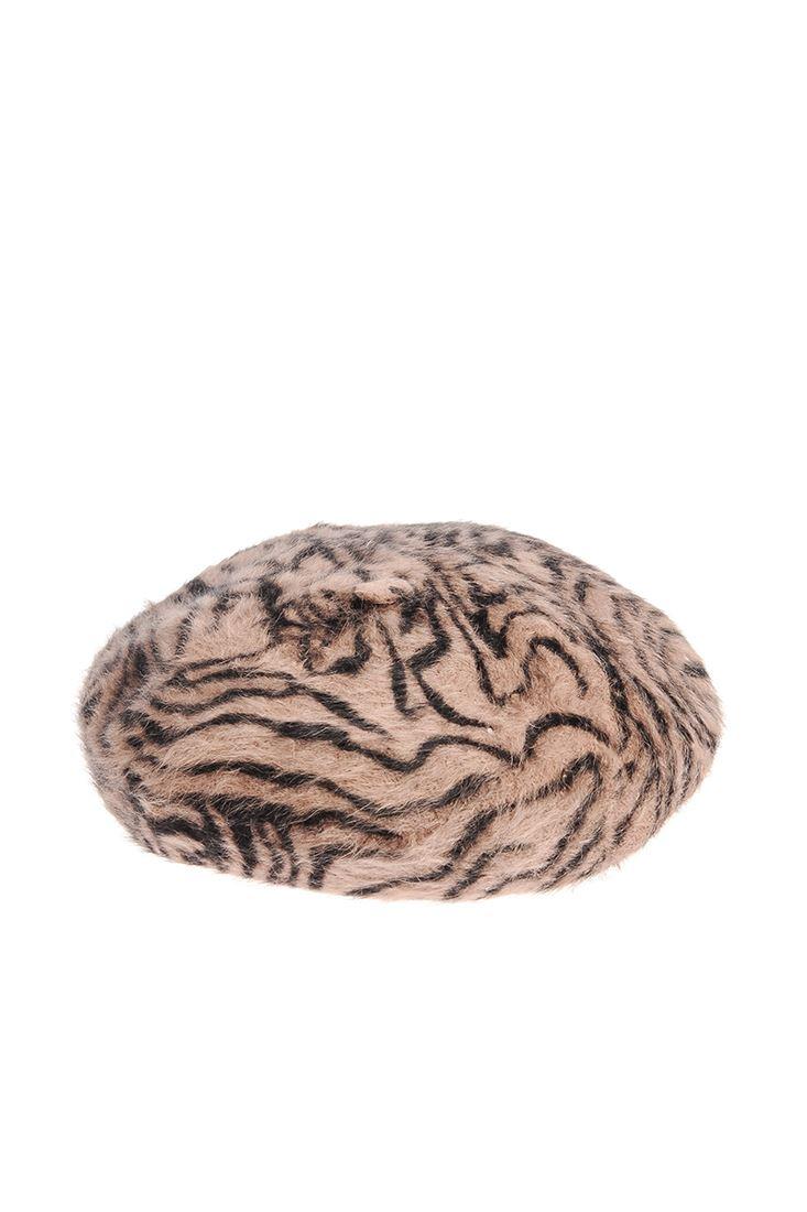 Yünlü Zebra Desenli Bere