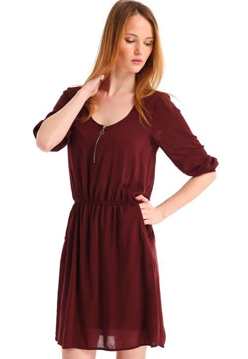 Yakası Fermuarlı Cepli Mini Elbise 15YOX-VISFEREL