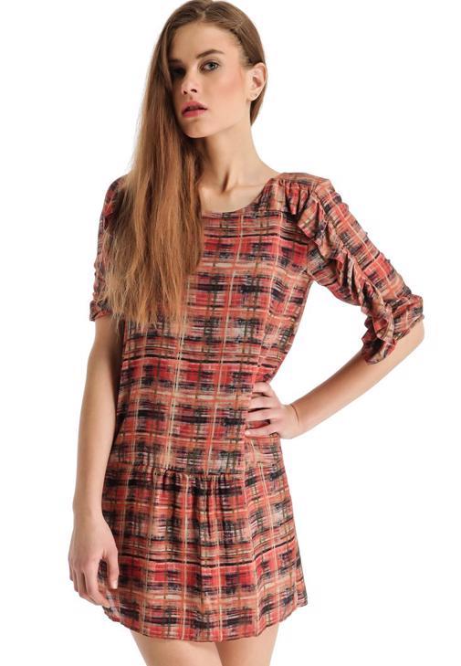 Dizüstü Desenli Elbise 14KOX-VISFIRBISE