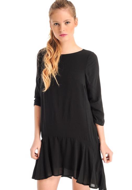 Eteği Volanlı Mini Elbise 14KOX-VISKESEL
