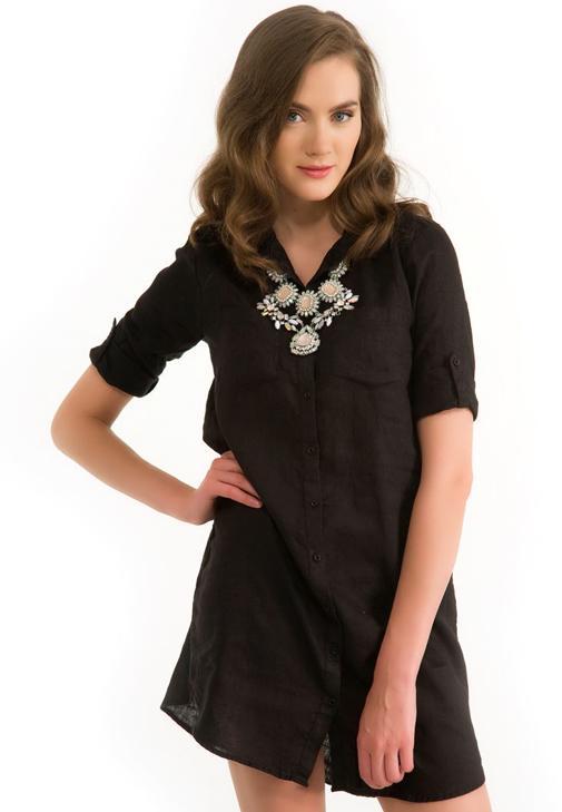 Keten Gömlek Elbise 14YOX-KETGOMEL