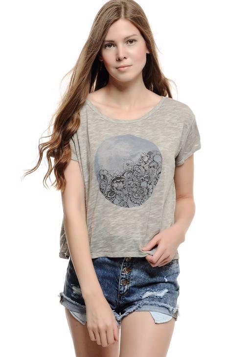 Ay Baskılı Kısa Tişört 15KOX-DEVFLOMOON
