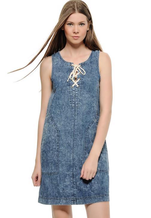 Önü Bağlamalı Elbise 15KOX-INES