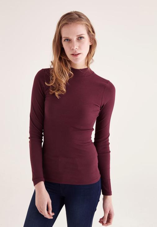 Bordo Yarım Boğazlı Uzun Kollu Tişört