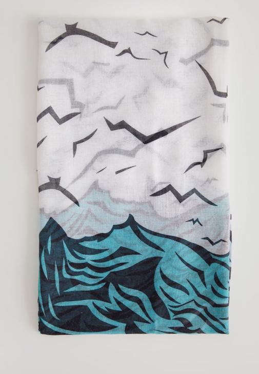 Kuş Desenli İnce Şal 15KOX-LAKUSSAL