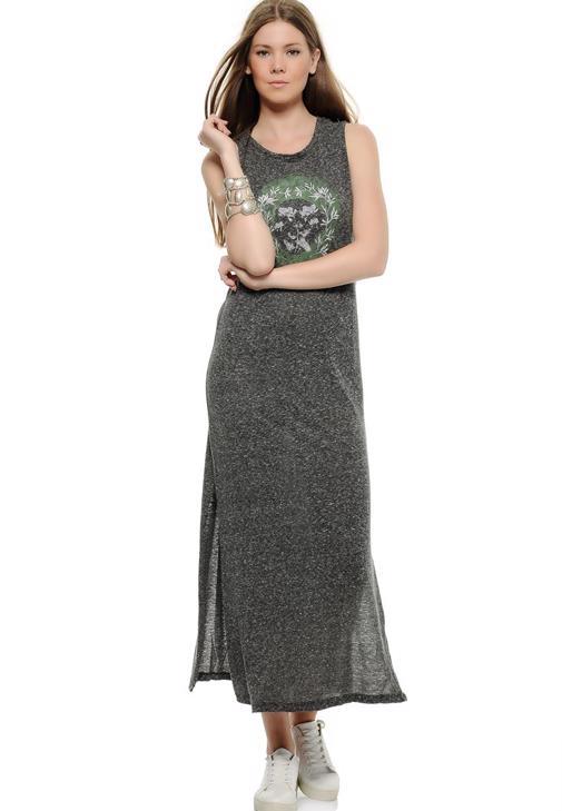 Yanları Yırtmaçlı Kolsuz Elbise 15KOX-NOPELFLO
