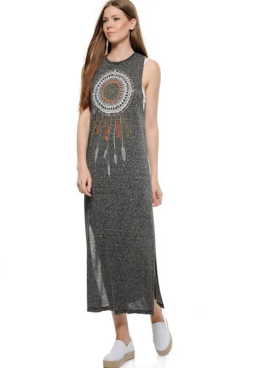 Kolsuz Yanları Yırtmaçlı Elbise 15KOX-NOPELTUY