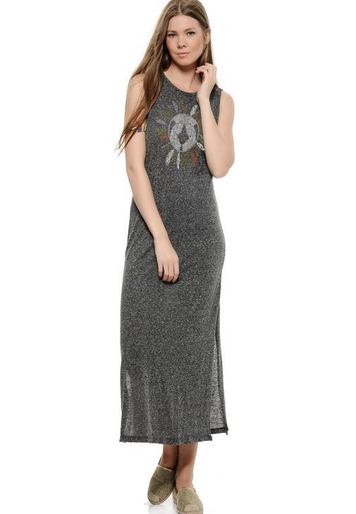 Önü Baskılı Kolsuz Uzun Elbise 15KOX-NOPLEOEL