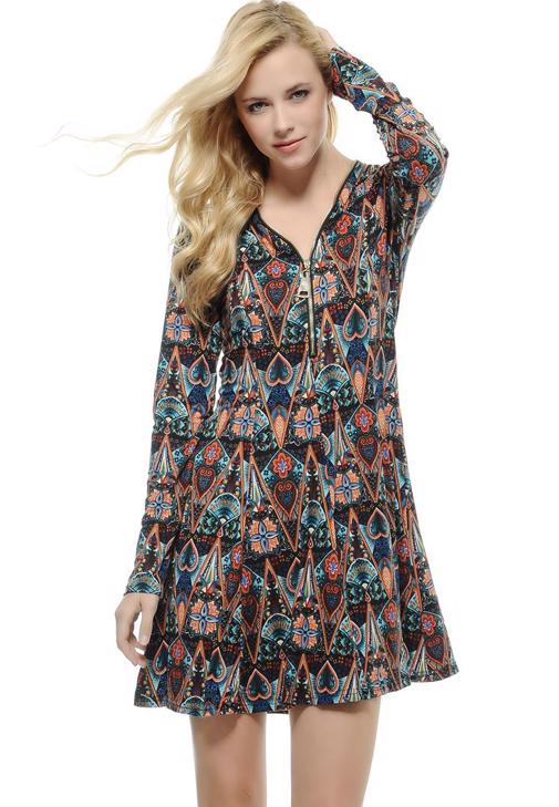 Baskılı Önü Fermuarlı Elbise 15KOX-NOVFERBISE