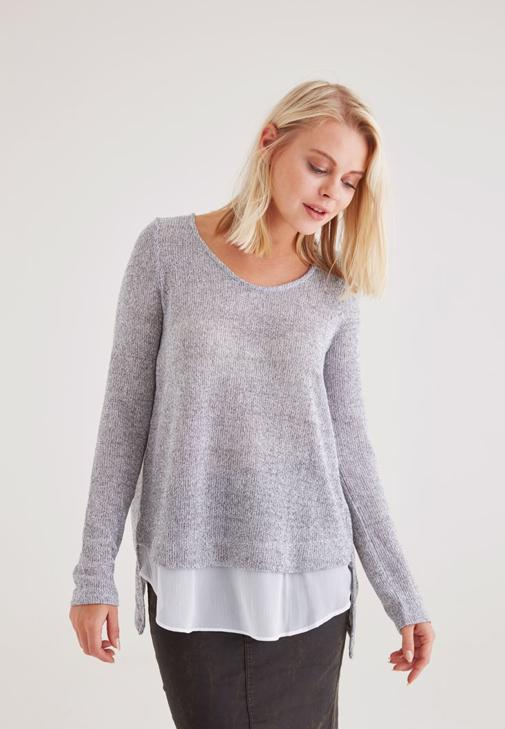 Pullover With Woven Detail 15KOX-VIPMIXBACK