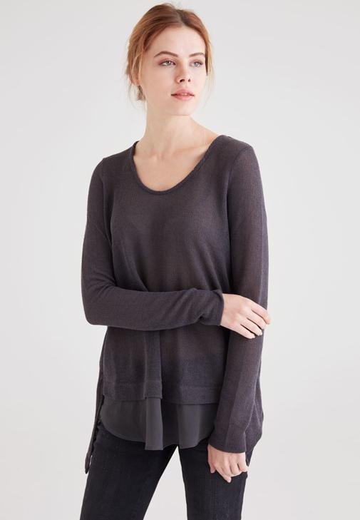 Pullover With Woven Detail