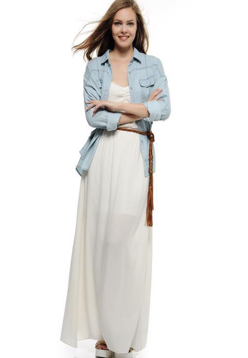 Askılı Uzun Elbise 15KOX-VISDUZEL