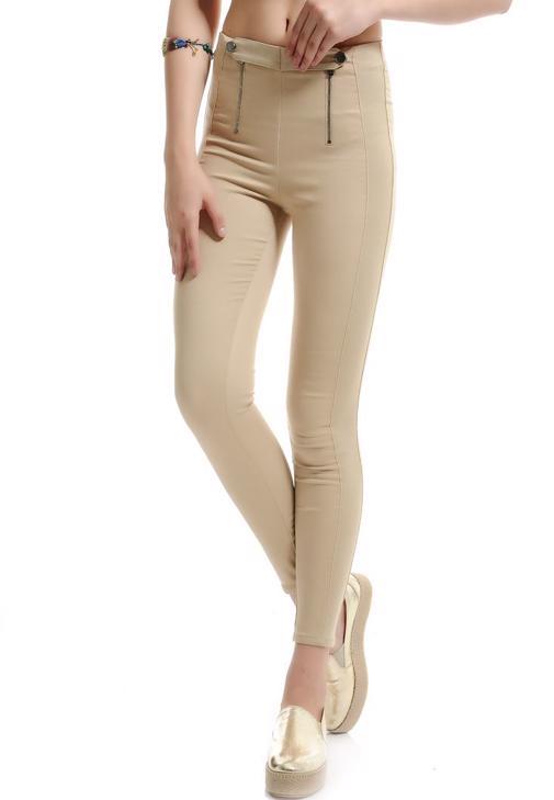 Önden Fermuarlı Pantolon Görünümlü Tayt 15YHOT-FLEFERJEG