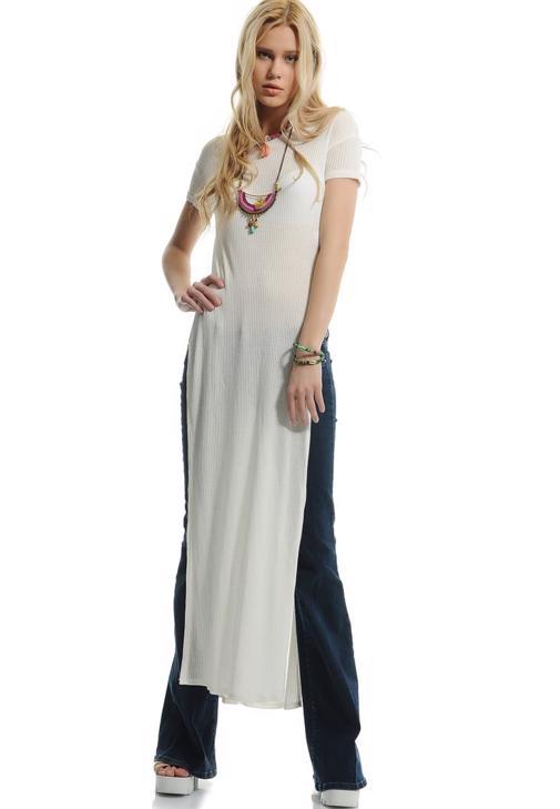 Yandan Derin Yırtmaçlı Elbise 15YHOT-KASPOLDRESS