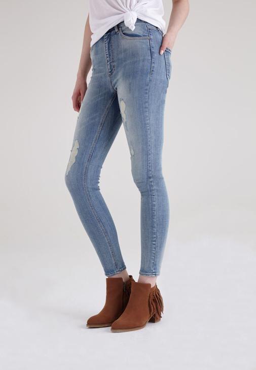 Mavi Ultra Yüksek Bel Yırtık Pantolon