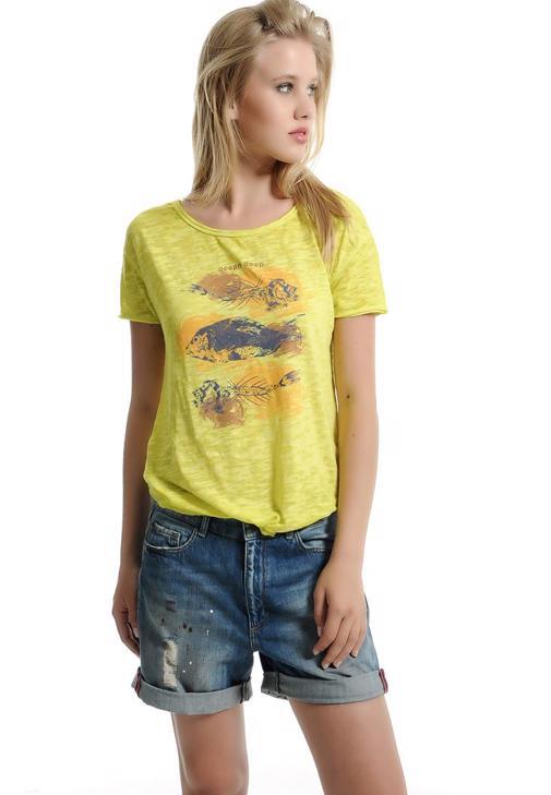 Önden Bağlamalı Baskılı Tişört 15YOX-DEVBASFISH