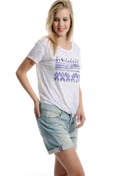 Bağlamalı Baskılı Tişört 15YOX-DEVBASLOVE