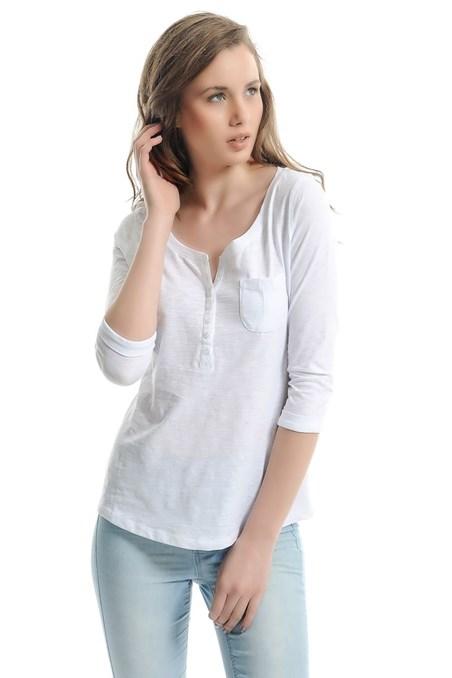 Uzun Kollu Düğmeli Tişört 15YOX-FLACEPUZ15Y