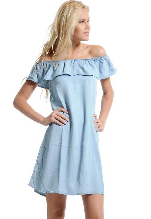 Yakası Fırfır Detaylı Elbise 15YOX-IVA