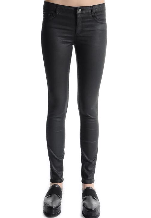 Deri Görünümlü Skinny Pantolon 14KOX-KAPNEWPAN