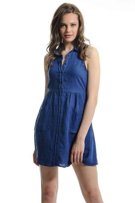 Önü Düğmeli Mini Elbise 15YOX-KETCEPEL