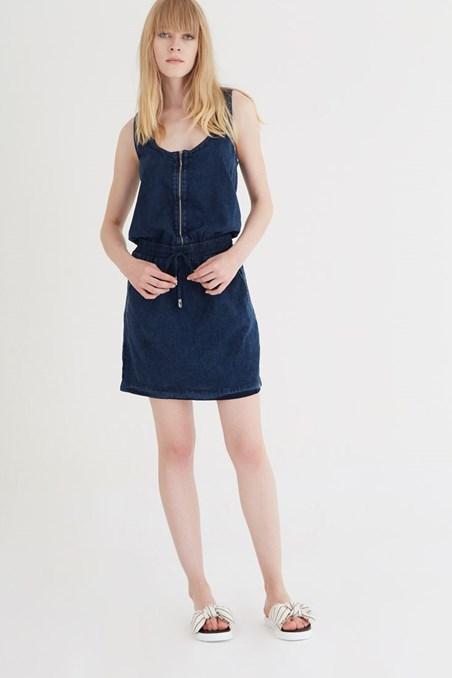 Önü Fermuarlı Belden Lastikli Elbise 15YOX-MEDUS