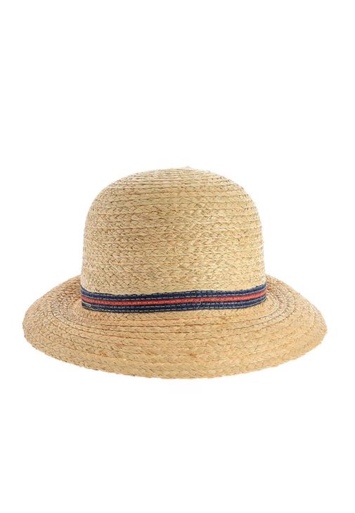 Kırmızı Lacivert Çizgili Hasır Şapka 15YOX-NESCUPHAS
