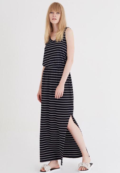 Yırtmaçlı Beli Lastikli Askılı Elbise 15YOX-NOPCIZVEL