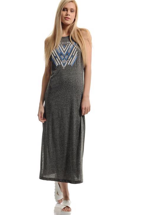 Baskılı yandan yırtmaçlı uzun Elbise 15YOX-NOPNEVEL