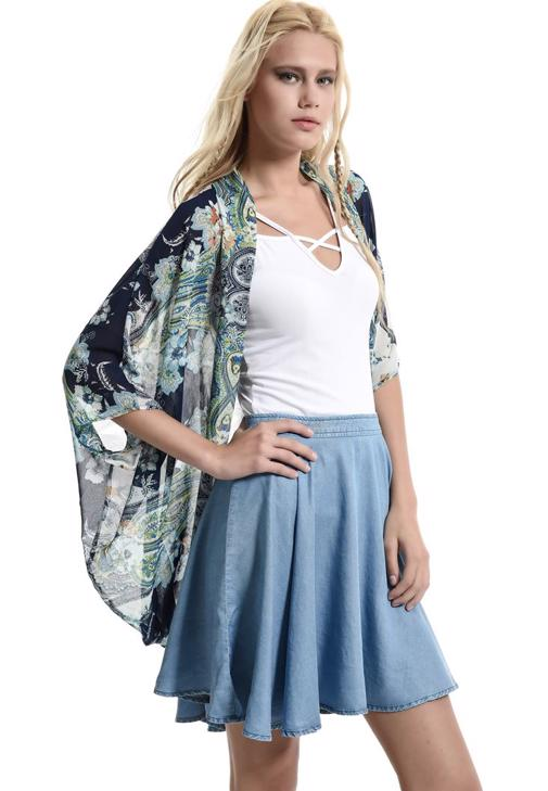 Desenli Yarasa Kol Kimono 15YOX-NOVBASKIM