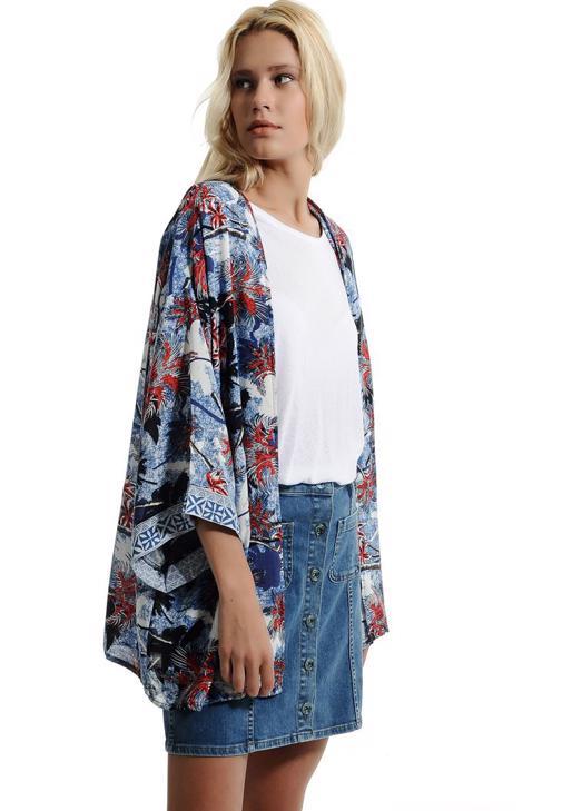 Palmiye Desenli Kimono 15YOX-NOVKIMFLO