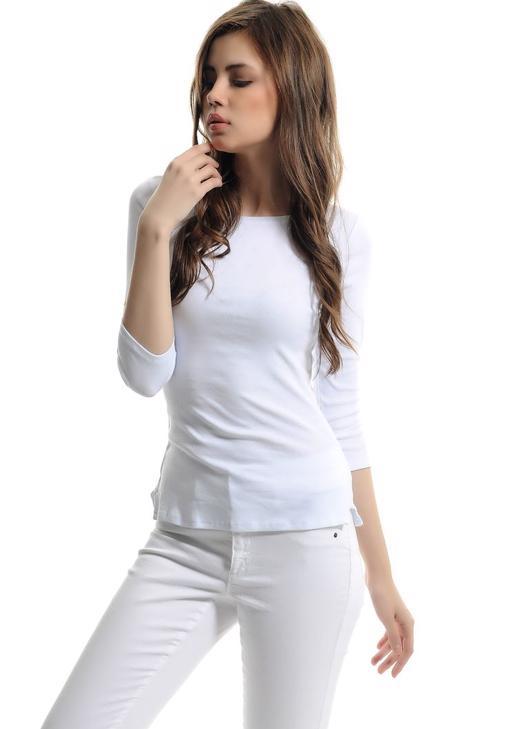 Uzun Kollu Kayık Yaka Tshirt 15YOX-PENBOTUZ