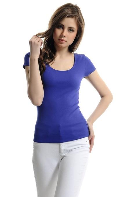 U Yaka Kısa Kollu Basic Tshirt 15YOX-PENKISGEN