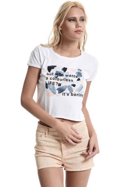 Beyaz Slogan Tişört 15YOX-REBASCOL