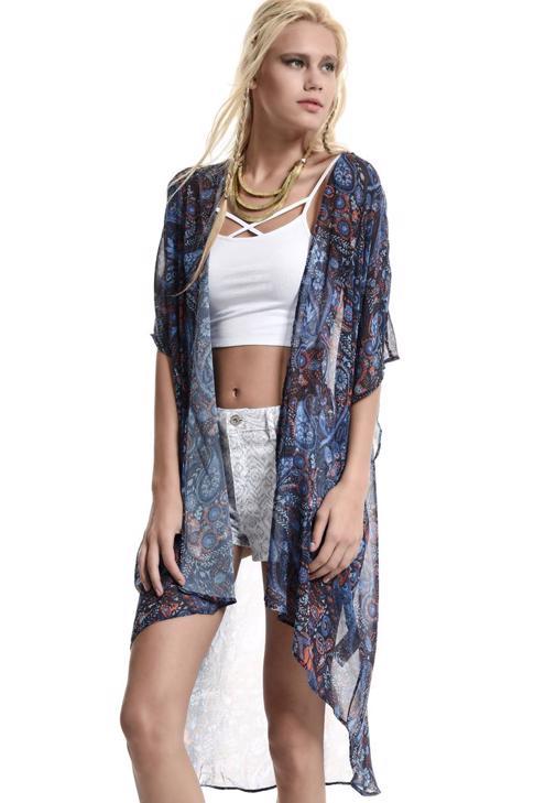Transparan Desenli Dökümlü Kimono 15YOX-SIFDESUZ