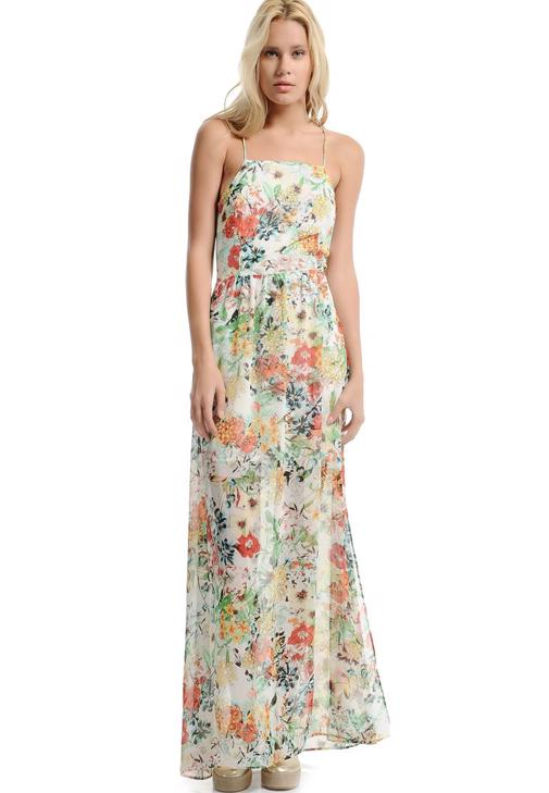 Floral Printed Maxi Dress With Back Open Detail 15YOX-SIFMAXBISE