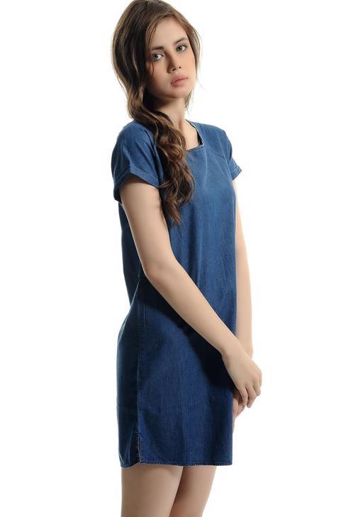 Kısa Kollu Denim Elbise 15YOX-SILVIA
