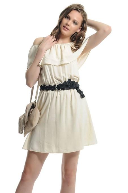 Fırfırlı Katlı Yaka Beli Lastikli Elbise 15YOX-VISKATBISE
